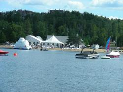 View of the public beach on Lake Tremblant.