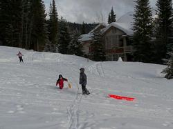 Not only ski in & ski out, but also SLIDE IN & SLIDE OUT.  Great snow-play for kids just around the corner