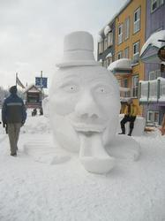 Snow sculptures competition in village