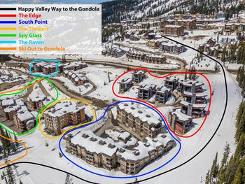 The Timbers is located directly behind the Happy Valley Lodge and less than a minute walk to the Godola which takes you to the village and ski lifts.
