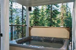The private hot-tub is positioned on the deck & enjoys intimate pine forest and snowscape views.