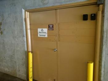 The garbage/recycling room is on the right hand side entrance area of Sunpath garage. Use key to unlock the door.