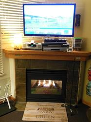 LED mini lights on top and bottom of TV with off/on switches. In winter, shoe LED warmer with shoe tray by fireplace, with electric foot massager.
