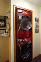 Extra large top-of-the-line steam washer and dryer. Low water/low energy used. Only 2 tablespoons of HE soap provided/ needed for this highly efficient set to produce clean laundry.