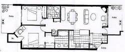 This floor plan shows the flow of the unit. The hot tub and pool are located very close to the outside patio of the guest bedroom.