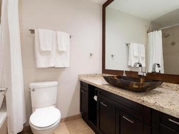 Main bathroom with plenty of counter space, shower and bathtub. Hair dryer and iron provided.