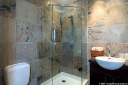 Ensuite bathroom with built in shower, custom tile, heated floors