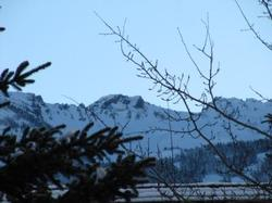 The early morning mountain view from our place