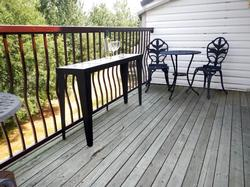 Enjoy the large 200 sq.ft. deck with table and chairs featuring a stunning mountain view