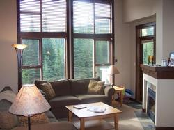 Living room with fireplace, flat screen TV (next to fireplace), view of woods and Mt Morrisey.