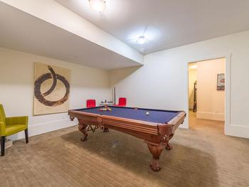 The games room on the second floor has a Pool table.