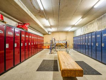 Secure ski storage & maintenance room.