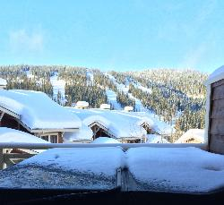 Kia Ora (Welcome) to the view from the Master Bedroom over the hot tub at our Sun Peaks home