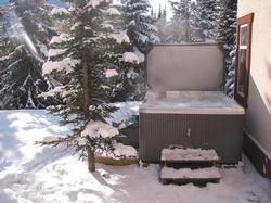 Warm and Spacious 5 person Hot Tub located on green belt with views of Mt. Morrisey.