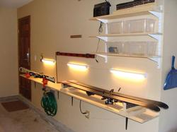 Ski work bench, wax and ski iron provided.