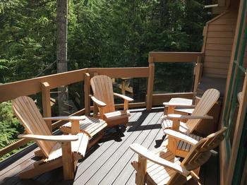 Enjoy the new deck in our Adirondack chairs - Summer only