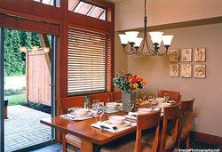 DINING AREA: Beautiful Maple Table and Chairs (Seats 8) with view of Private Patio and Ski Mountains.