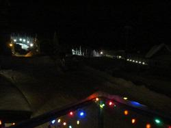View of night skiing on Bullet Chair from the balcony.