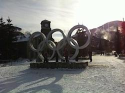 The Olympic rings are in front of the skating rink near the playground, and serve as a reminder of the fantastic world class facilities which exist in Whistler.