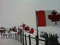 When you arrive at the top of the Whistler gondola, halfway up the mountain, you will be greeted by these stunning flags, to remind you where the best snow is to be found!!