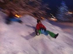 Sometimes the best fun is to be had sliding down the piles of snow in the village...