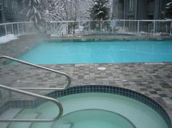 Outdoor year round heates hot tubs and pool