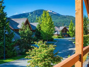 WELCOME TO CASABELLA CRESCENT IN THE AWARD-WINNING MONTEBELLO RESIDENTIAL COMMUNITY. TAKEN FROM OUR FRONT BALCONY EARLY SUMMER, LOOKING TOWARDS WHISTLER MOUNTAIN