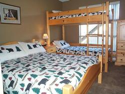 Bedroom #2, double bed and single bunks beds