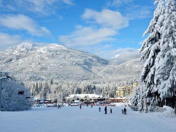 View of Blackcomb Base from outside Woodrun Lodge. Takes around a minute to ski to the gondola or ski school.