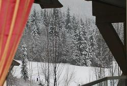 View from the sofa to the slopes.