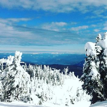 Views all the way to Shuswap Lake from the top of the Crystal chair