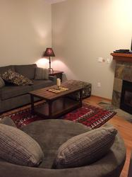 All new furniture in the living room invites to curl up in front of the fireplace