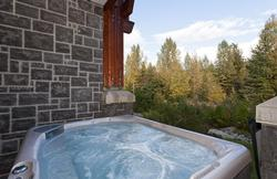 Private hot tub with great views and green space and outside fireplace