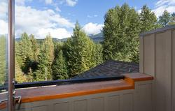 Deck off master bedroom with mountain views