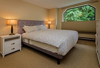 The Bedroom with queen bed. This bed has a down comforter. This room has a double closet.