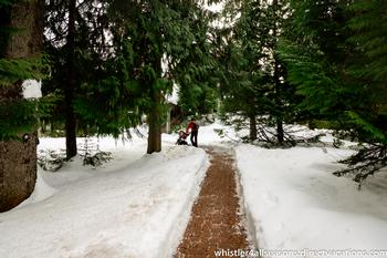 This flat level walking path from The Gables takes you to Blackcomb Base or to the village in minutes.