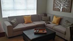 Living area, including custom made couch and sofa bed
