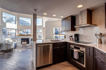 Modern kitchen with all you need to prepare and serve small to large meals and high end appliances.