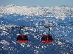 Photo of the Peak to Peak Gondola. This amazing gondola spans singing pass and can be seen from the deck of Symphony of Whistler