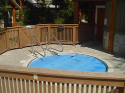 This is the large common hot tub that seats up to 12 people. It is a great place to gather after a hard day of skiing. There is a mens and ladies washrooms with showers.