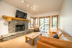 Open concept, fireplace, decks, and quite setting.
