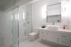 Master bathroom with steam room