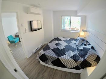 Master bedroom with King Bed, 42 inch TV with both cable TV, Apple TV, Netflix and air conditioning!