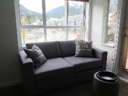 Spectacular views of the village, Blackcomb and Whistler Mountains from our living room window!