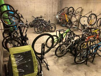 Secure bike storage in the Marketplace Lodge parking garage. Guests are also welcome to bring their bikes into the building for storage on our balcony.