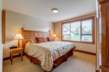 King-size bed in the master bedroom with lots of closet space with built in air conditioning for those warm summer nights.