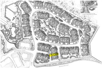 4871 Casabella Crescent is highlighted in yellow on the Montebello Site plan.