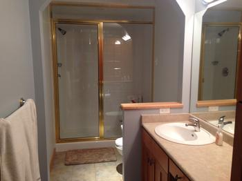 Large Ensuite bathroom with a steam shower