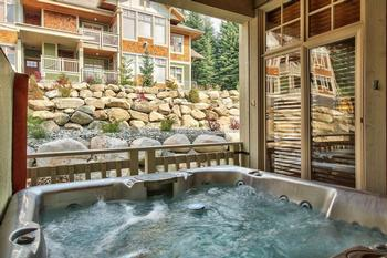 Relax in the hot tub after a fun day on the hill.