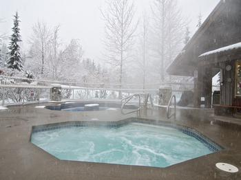 Two of three heated hot tubs. Perfect after a big day on the hill